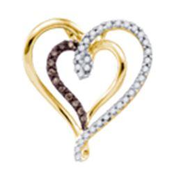 0.24 CTW Cognac-brown Color Diamond Double Heart Love Pendant 10KT Yellow Gold - REF-22W4K