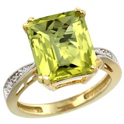 Natural 5.42 ctw Lemon-quartz & Diamond Engagement Ring 14K Yellow Gold - REF-60Y3X