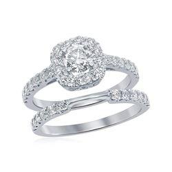 1.5 CTW Diamond Halo Bridal Engagement Ring 14KT White Gold - REF-232N4F