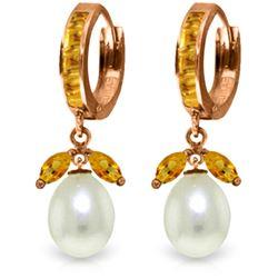 Genuine 10.30 ctw Citrine & Pearl Earrings Jewelry 14KT Rose Gold - REF-56N7R