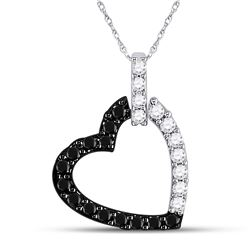 0.31 CTW Black Color Diamond Heart Love Pendant 14KT White Gold - REF-22K4W