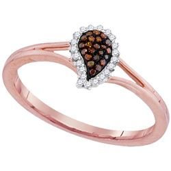 0.10 CTW Red Color Diamond Teardrop Cluster Ring 10KT Rose Gold - REF-16X4Y