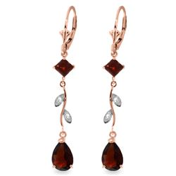 Genuine 3.97 ctw Garnet & Diamond Earrings Jewelry 14KT Rose Gold - REF-44R9P
