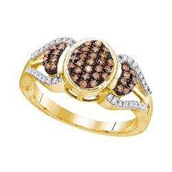 0.33 CTW Cognac-brown Color Diamond Oval Cluster Ring 10KT Yellow Gold - REF-25M4H
