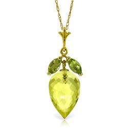 Genuine 9.5 ctw Quartz Lemon & Peridot Necklace Jewelry 14KT Yellow Gold - REF-25K8V
