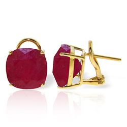 Genuine 13.5 ctw Ruby Earrings Jewelry 14KT Yellow Gold - REF-118X2M