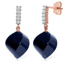 Genuine 30.65 ctw Sapphire & Diamond Earrings Jewelry 14KT Rose Gold - REF-59Z9N