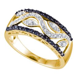 0.40 CTW Black Color Diamond Vine Ring 10KT Yellow Gold - REF-34N4F