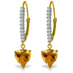 Genuine 3.55 ctw Citrine & Diamond Earrings Jewelry 14KT Yellow Gold - REF-62X2M