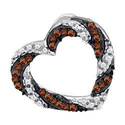 0.17 CTW Cognac-brown Color Diamond Heart Outline Pendant 10KT White Gold - REF-13Y4X