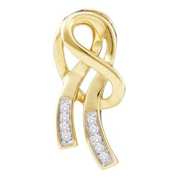 0.07 CTW Diamond Ribbon Fashion Pendant 10KT Yellow Gold - REF-10F5N