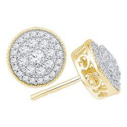 0.50 CTW Diamond Flower Cluster Earrings 10KT Yellow Gold - REF-49H5M