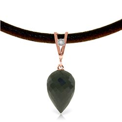 Genuine 12.26 ctw Black Spinel & Diamond Necklace Jewelry 14KT Rose Gold - REF-37X4M