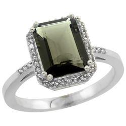 Natural 2.63 ctw Smoky-topaz & Diamond Engagement Ring 14K White Gold - REF-42G8M