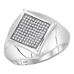 0.32 CTW Mens Diamond Square Cluster Ring 10KT White Gold - REF-41H9M