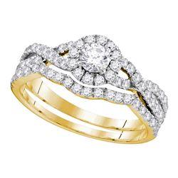 1 CTW Diamond EGL Bridal Wedding Engagement Ring 14KT Yellow Gold - REF-101N2F