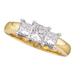 0.50 CTW Princess Diamond 3-stone Bridal Engagement Ring 14KT Yellow Gold - REF-59K9W