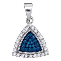0.30 CTW Blue Color Diamond Triangle Cluster Pendant 10KT White Gold - REF-14K9W