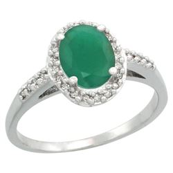 Natural 1.6 ctw Emerald & Diamond Engagement Ring 10K White Gold - REF-37V3F