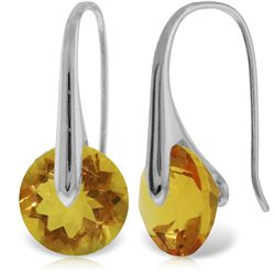 Genuine 11.50 ctw Citrine Earrings Jewelry 14KT White Gold - REF-74F6Z