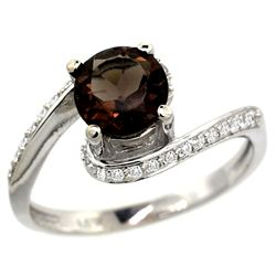 Natural 1.24 ctw smoky-topaz & Diamond Engagement Ring 14K White Gold - REF-52G6M