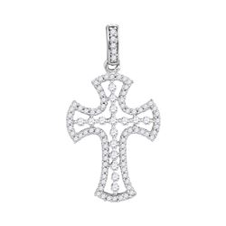 0.50 CTW Pave-set Diamond Cross Pendant 10KT White Gold - REF-26Y9X