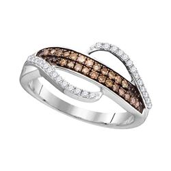 0.33 CTW Cognac-brown Color Diamond Ring 10KT White Gold - REF-24X2Y