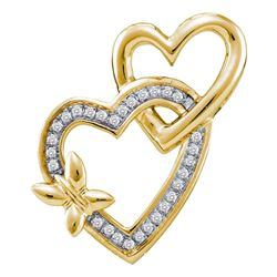 0.10 CTW Diamond Butterfly Double Heart Love Pendant 10KT Yellow Gold - REF-16W4K
