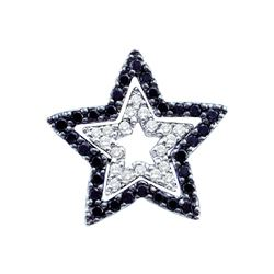 0.33 CTW Black Color Diamond Star Cutout Pendant 14KT White Gold - REF-34Y4X