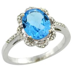 Natural 1.85 ctw Swiss-blue-topaz & Diamond Engagement Ring 14K White Gold - REF-38R6Z