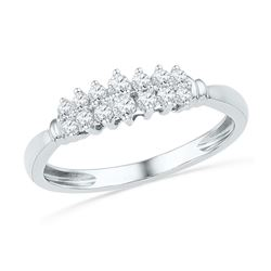 0.25 CTW Prong-set Diamond Double Row Ring 10KT White Gold - REF-24N2F