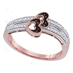 0.15 CTW Red Color Diamond Heart Love Ring 10KT Rose Gold - REF-22N4F