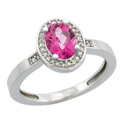 Natural 1.08 ctw Pink-topaz & Diamond Engagement Ring 14K White Gold - REF-31H3W