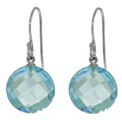 Genuine 12 ctw Blue Topaz Earrings Jewelry 14KT White Gold - REF-24K4V