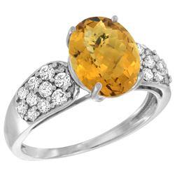 Natural 2.75 ctw quartz & Diamond Engagement Ring 14K White Gold - REF-57K7R