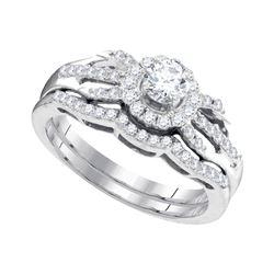 0.50 CTW Diamond Halo Bridal Engagement Ring 10KT White Gold - REF-57H2M