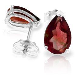 Genuine 3.15 ctw Garnet Earrings Jewelry 14KT White Gold - REF-21Z2N