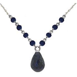 Genuine 15.8 ctw Sapphire Necklace Jewelry 14KT White Gold - REF-37V2W