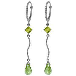 Genuine 3.5 ctw Peridot Earrings Jewelry 14KT White Gold - REF-33W8Y