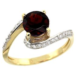 Natural 1.25 ctw garnet & Diamond Engagement Ring 10K Yellow Gold - REF-42A9V