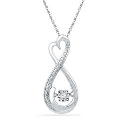 0.03 CTW Diamond Infinity Moving Twinkle Pendant 10KT White Gold - REF-14N9F