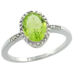 Natural 1.39 ctw Peridot & Diamond Engagement Ring 14K White Gold - REF-23F7N