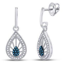 0.25 CTW Blue Color Diamond Teardrop Screwback Earrings 10KT White Gold - REF-26X9Y