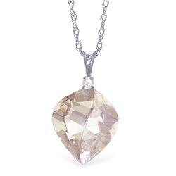 Genuine 12.85 ctw White Topaz & Diamond Necklace Jewelry 14KT White Gold - REF-31W4Y