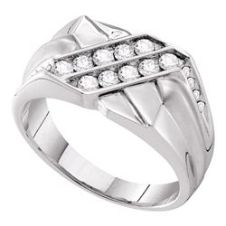 0.65 CTW Mens Diamond Double Row Rectangle Ring 14KT White Gold - REF-97H4M