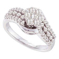 0.75 CTW Diamond Flower Cluster Ring 14KT White Gold - REF-82N4F