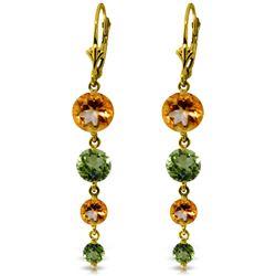 Genuine 7.8 ctw Citrine & Peridot Earrings Jewelry 14KT Yellow Gold - REF-46Y3F