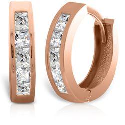 Genuine 1.0 ctw Diamond Anniversary Earrings Jewelry 14KT Rose Gold - REF-182Y7F