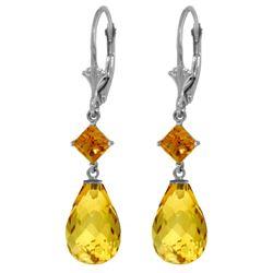 Genuine 11 ctw Citrine Earrings Jewelry 14KT White Gold - REF-39A3K