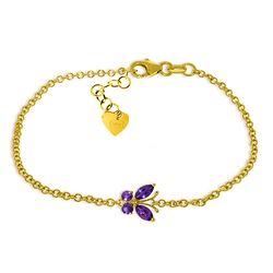 Genuine 0.60 ctw Amethyst Bracelet Jewelry 14KT Yellow Gold - REF-41V6W